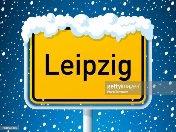 Leipzig German City Road Sign Winter Snow