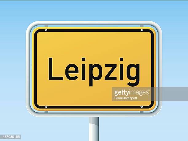stockillustraties, clipart, cartoons en iconen met leipzig ortsschild german city road sign - leipzig saksen