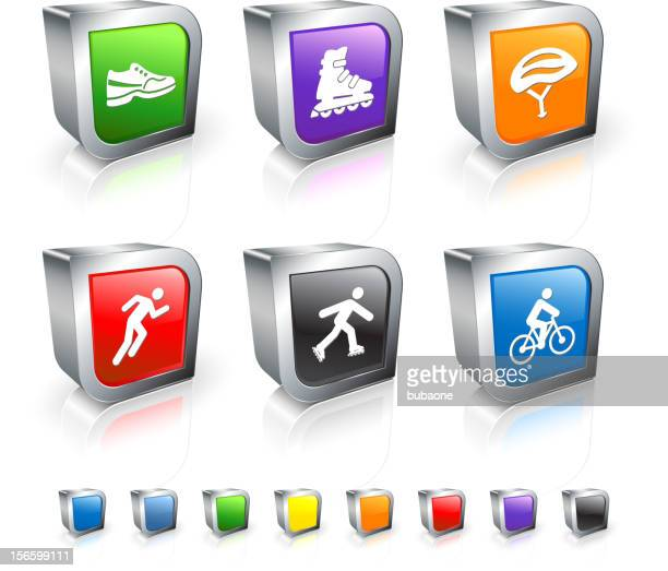 Leisure Exercise 3D vector icon set with Metal Rim