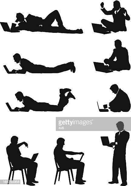 leisurely businessman working on laptop - lying on front stock illustrations, clip art, cartoons, & icons