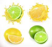 Lemon and lime juice. Fresh fruit, 3d vector icon