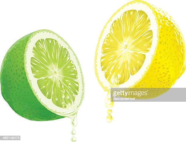 Lemon and Lime with dripping Juice