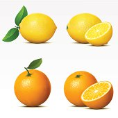 Lemon and orange both whole and cut in half