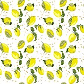 Lemon bright seamless pattern with seeds in concept colored graphic design vector illustration