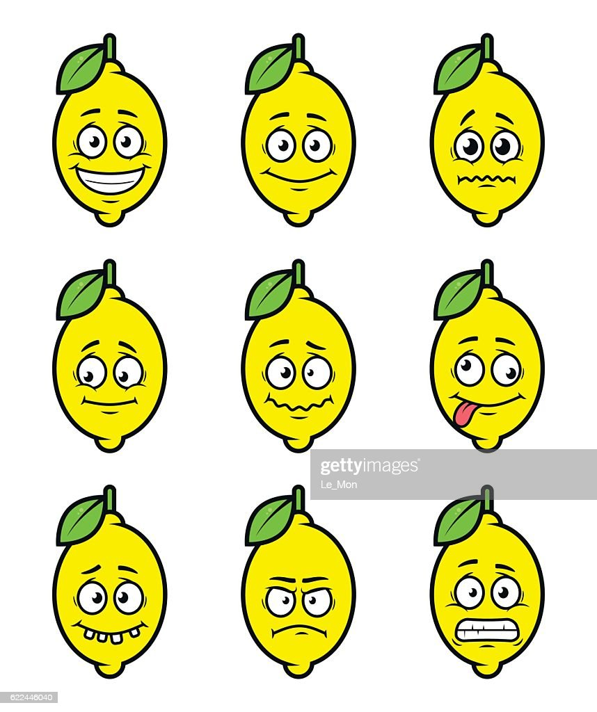 lemon cartoon facial expressions