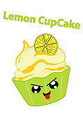 Lemon cupcake with a cheeky face in kawaii style.