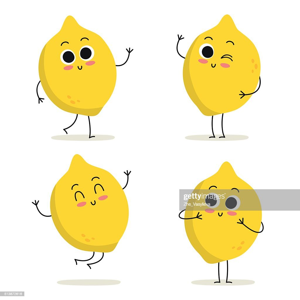 Lemon. Cute fruit character set isolated on white