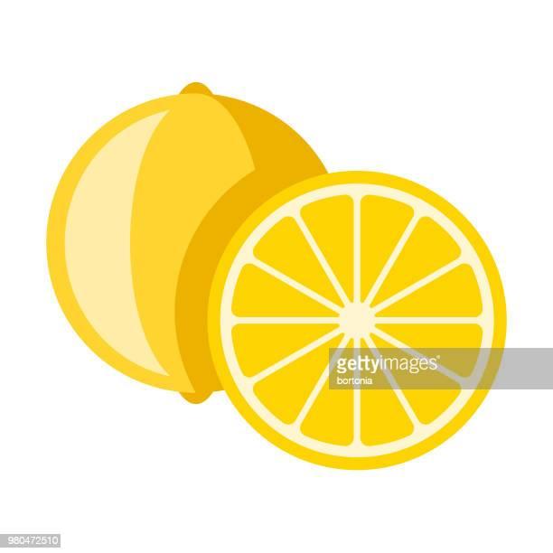 ilustrações, clipart, desenhos animados e ícones de ícone de fruta limão design plano - limão amarelo