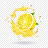 Lemon fruit juice splash realistic