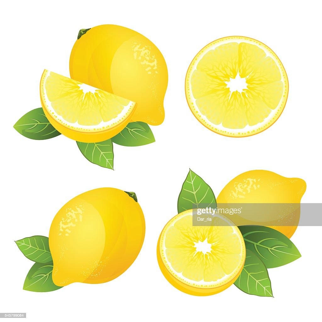 Lemon fruit slice set. Realistic citrus with leaves vector isolated