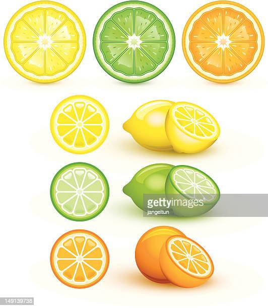 Lemon, lime, and orange