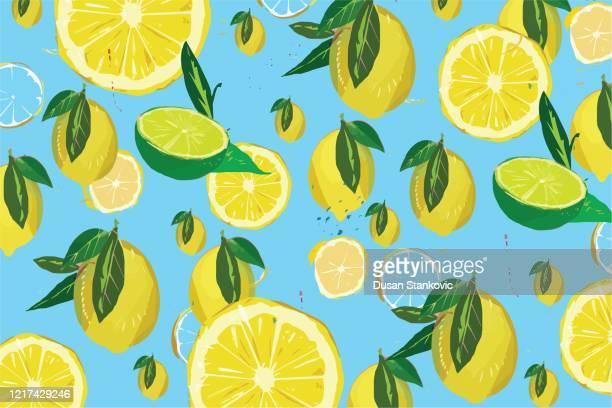 lemon pattern on blue background illustrations - lemonade stock illustrations