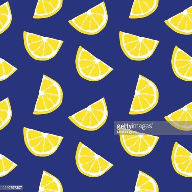 lemon pattern - citrus fruit stock illustrations, clip art, cartoons, & icons