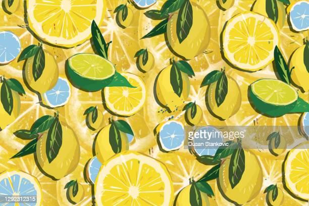 lemon pattern - lemonade stock illustrations