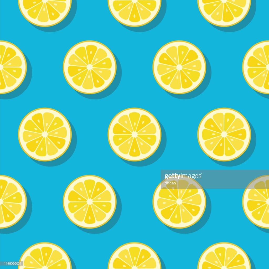 Motif de tranches de citron sur fond de couleur turquoise. : Illustration