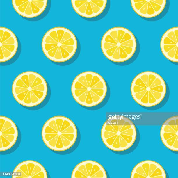 stockillustraties, clipart, cartoons en iconen met lemon slices patroon op turquoise kleur achtergrond. - summer