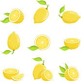 Lemon with slices. Fresh yellow fruit in cartoon style. Vector picture isolate on white