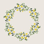 Lemon wreath. Vector. Isolated.