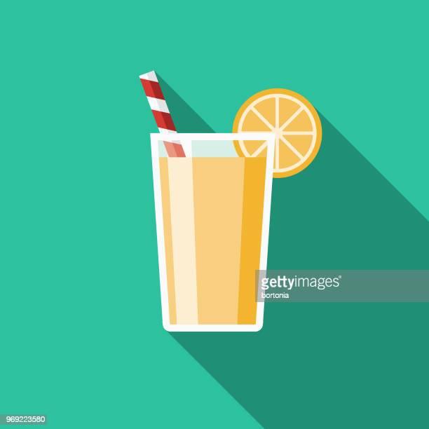 lemonade flat design summer icon with side shadow - lemonade stock illustrations