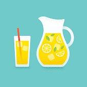 Lemonade pitcher and glass illustration.