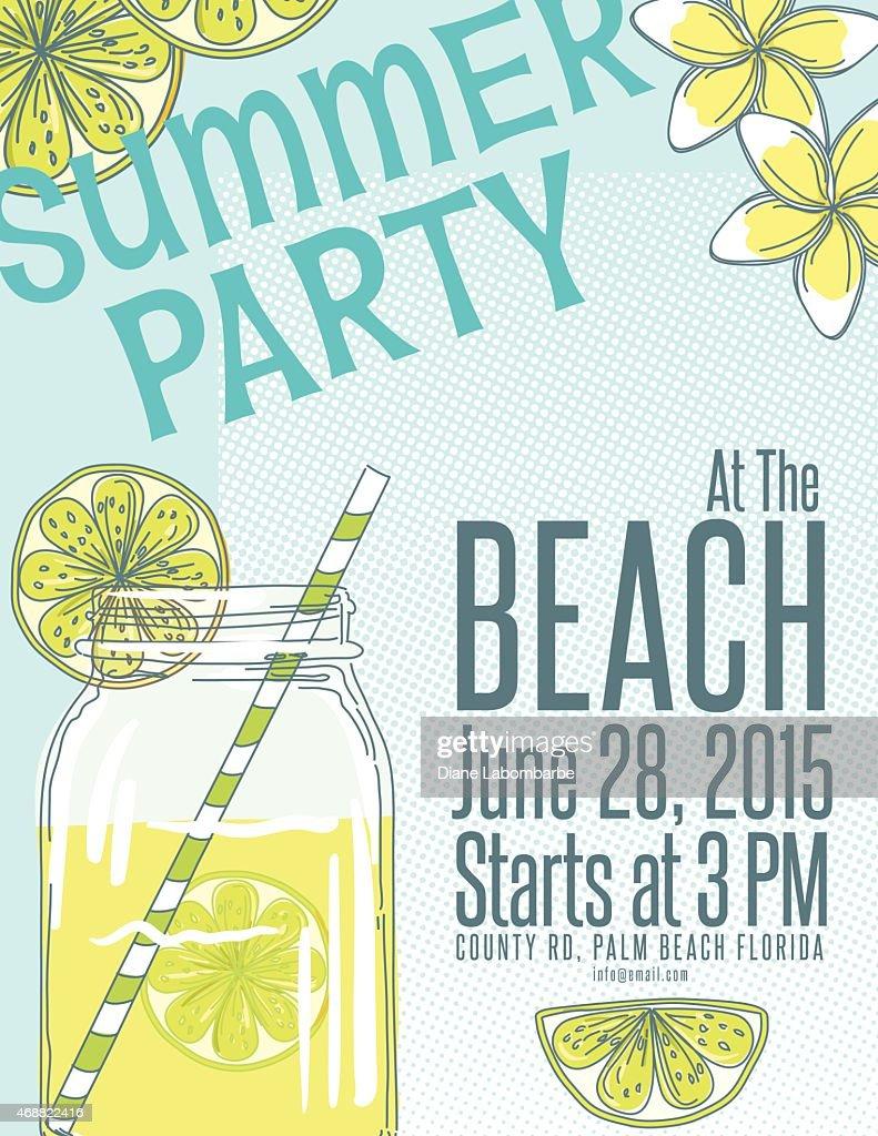 lemonade summer beach party invitation template vector art getty