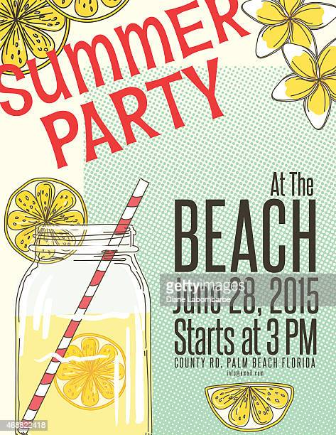 lemonade summer beach party invitation template - lemonade stock illustrations