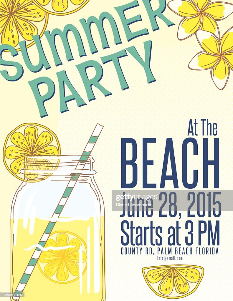 lemonade summer beach party invitation template vector art getty