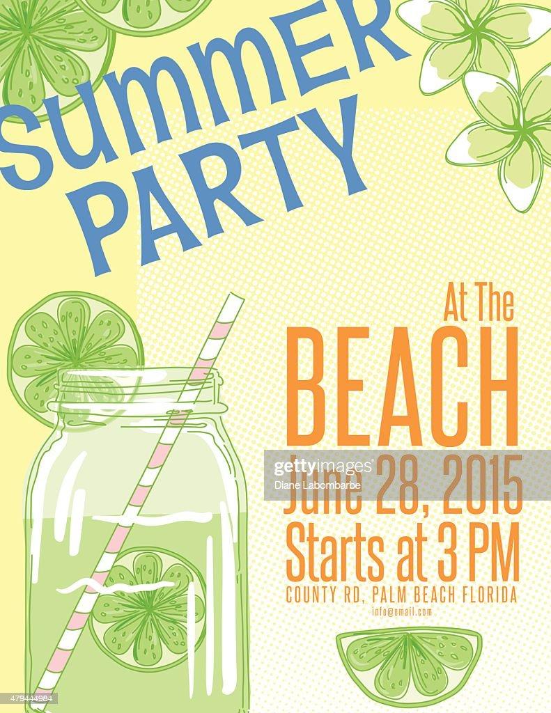 Lemonade Summer Beach Party Invitation Template Vector Art Getty - Party invitation template: beach party invitation template