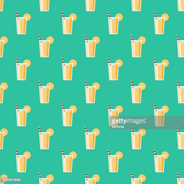 lemonade vacations seamless pattern - lemonade stock illustrations