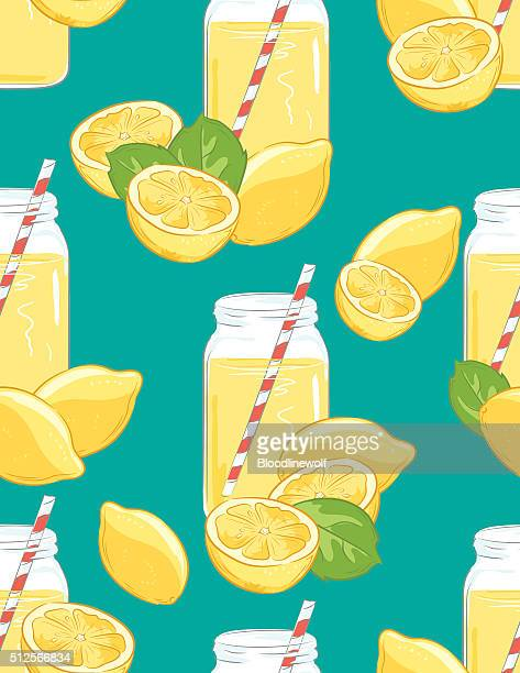 Lemons and Lemonade Seamless Pattern