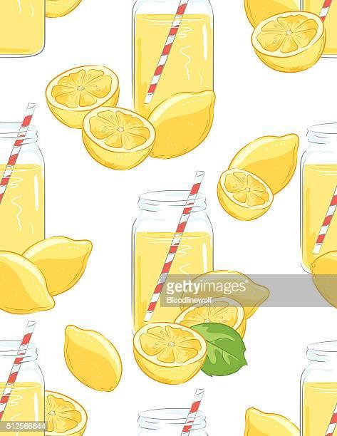 Lemons and Lemonade Seamless Pattern