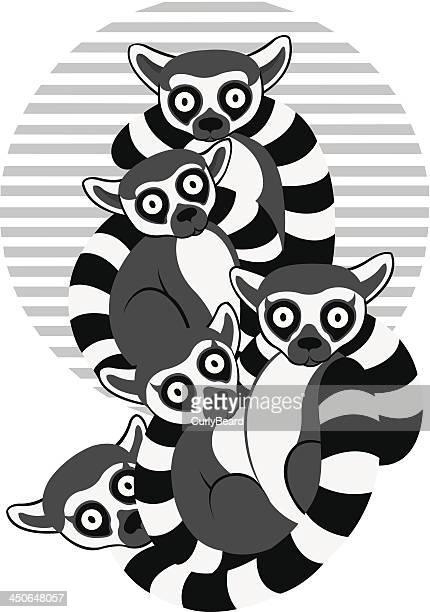 lemurs - madagascar stock illustrations, clip art, cartoons, & icons