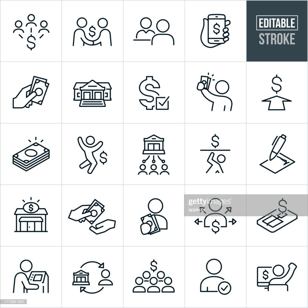 Lending and Borrowing Thin Line Icons - Editable Stroke : Stock Illustration