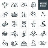 Lending and Borrowing Thin Line Icons - Editable Stroke