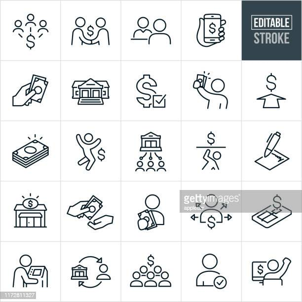 lending and borrowing thin line icons - editable stroke - receiving stock illustrations