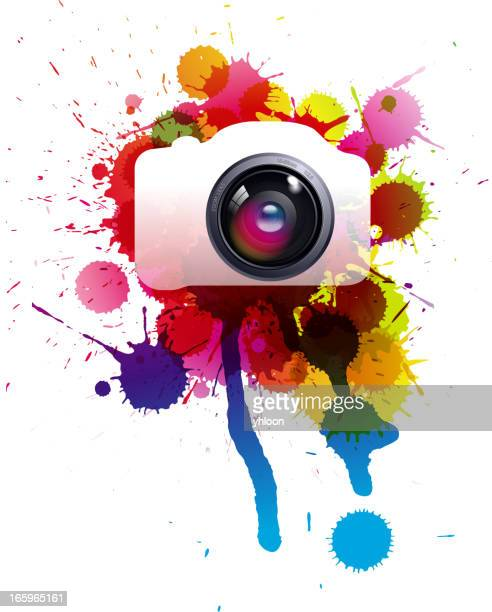 Lens and colorful splatters