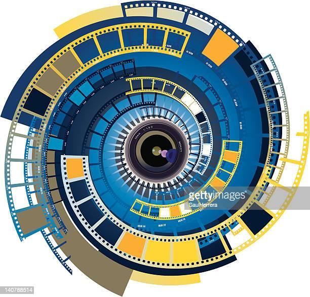 ilustraciones, imágenes clip art, dibujos animados e iconos de stock de lente de cámara de película 2 - rollo de cine
