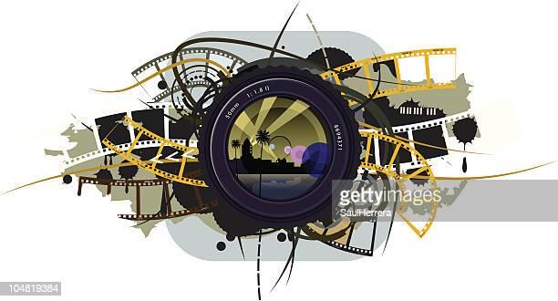 lens camera movie - film camera stock illustrations, clip art, cartoons, & icons