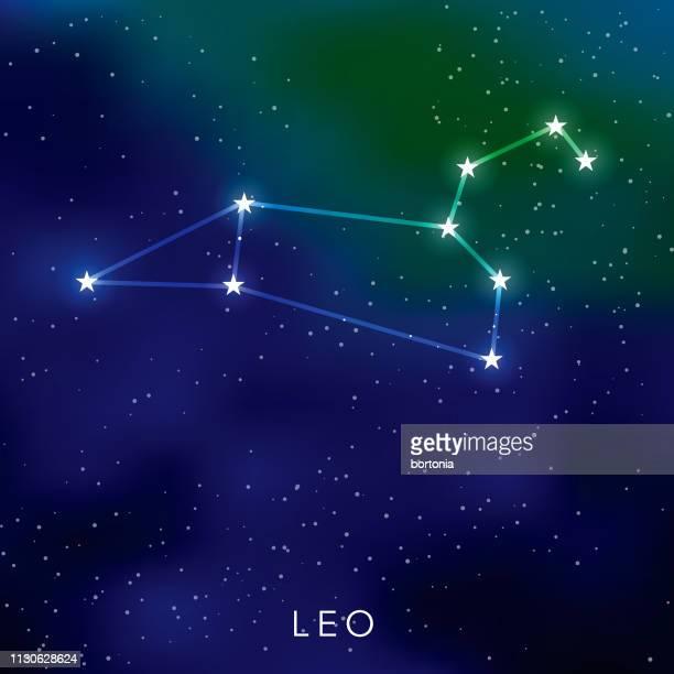 illustrazioni stock, clip art, cartoni animati e icone di tendenza di costellazione delle stelle di leone - costellazione