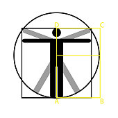 Leonardo da Vinci vitruvian man vector icon symbol design. Illustration isolated on white background. Leonardo da Vinci vitruvian man simplified sign. Symbol for anatomy