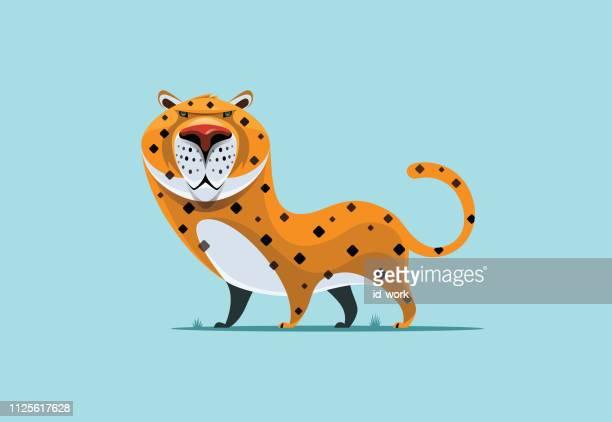 ilustraciones, imágenes clip art, dibujos animados e iconos de stock de carácter de leopardo - jaguar