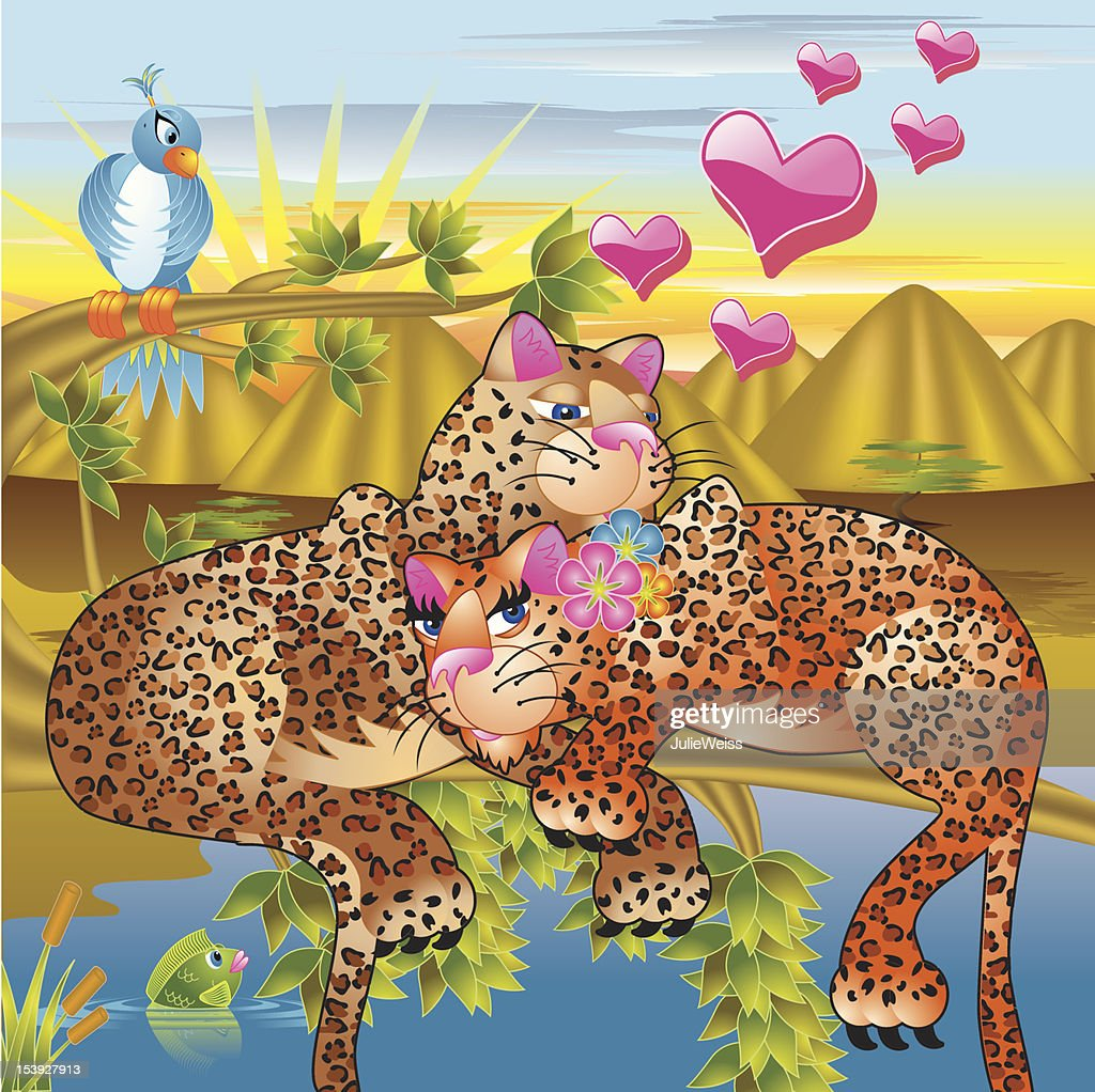 Amorous Pics leopard love amorous animals series high-res vector graphic