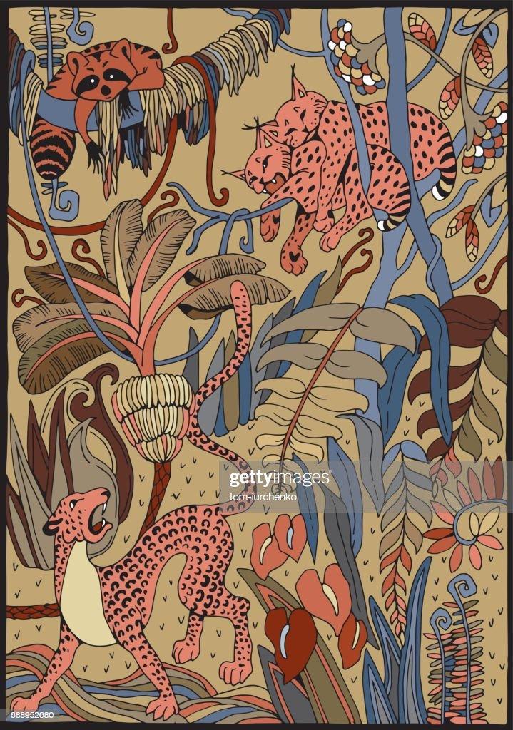Leopard Luchs Und Waschbären In Den Dschungel Malvorlagen