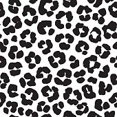 Leopard print seamless background pattern. Black and white