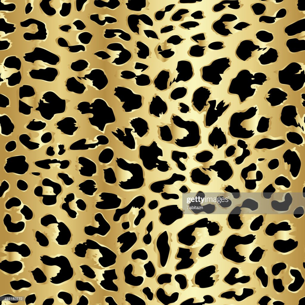 Leopard seamless pattern design in luxury gold color, vector background
