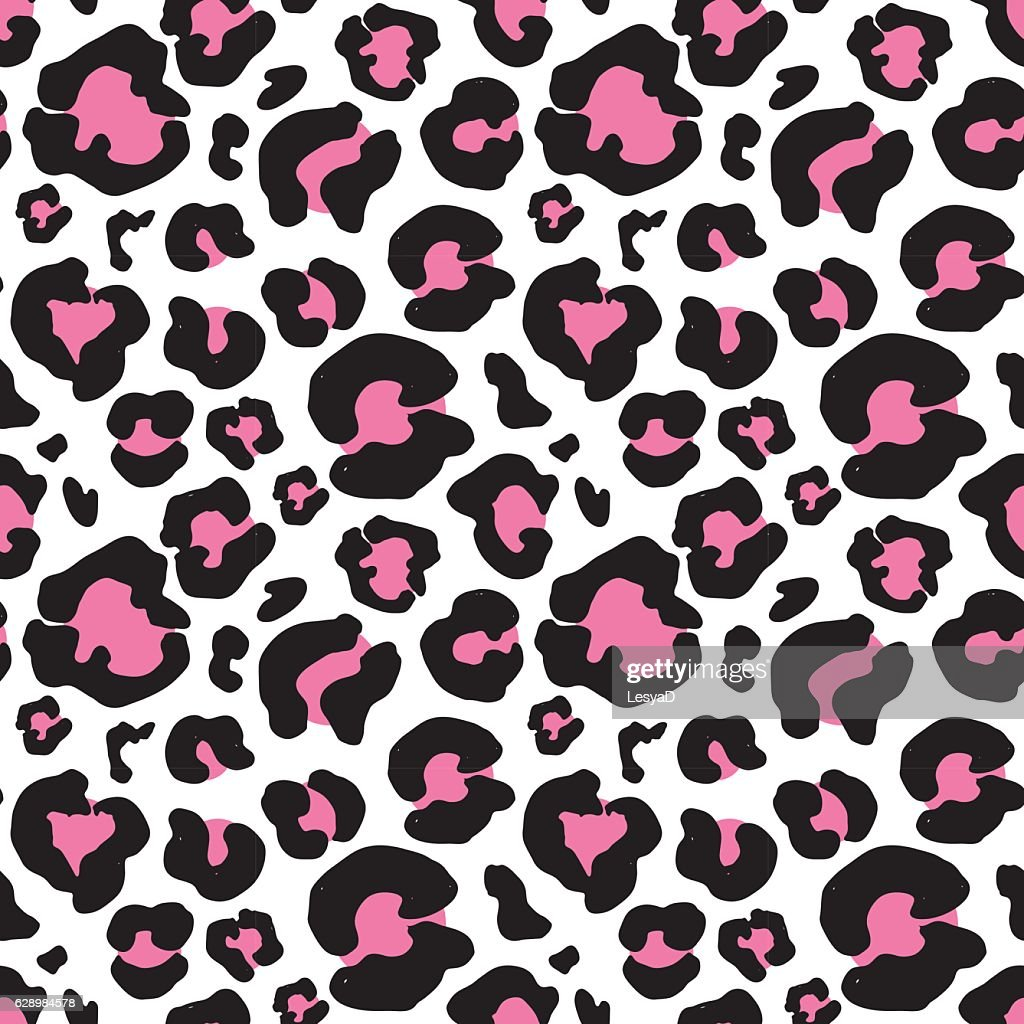 Leopard skin, hand drawn animal print Seamless Pattern. Vector Illustration.