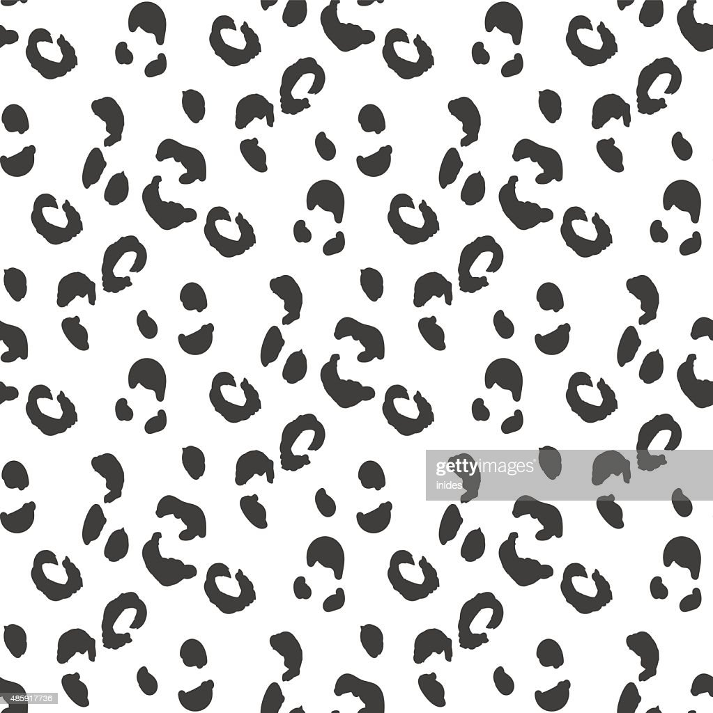 Leopard skin seamless pattern. Monochrome wild cat camouflage.