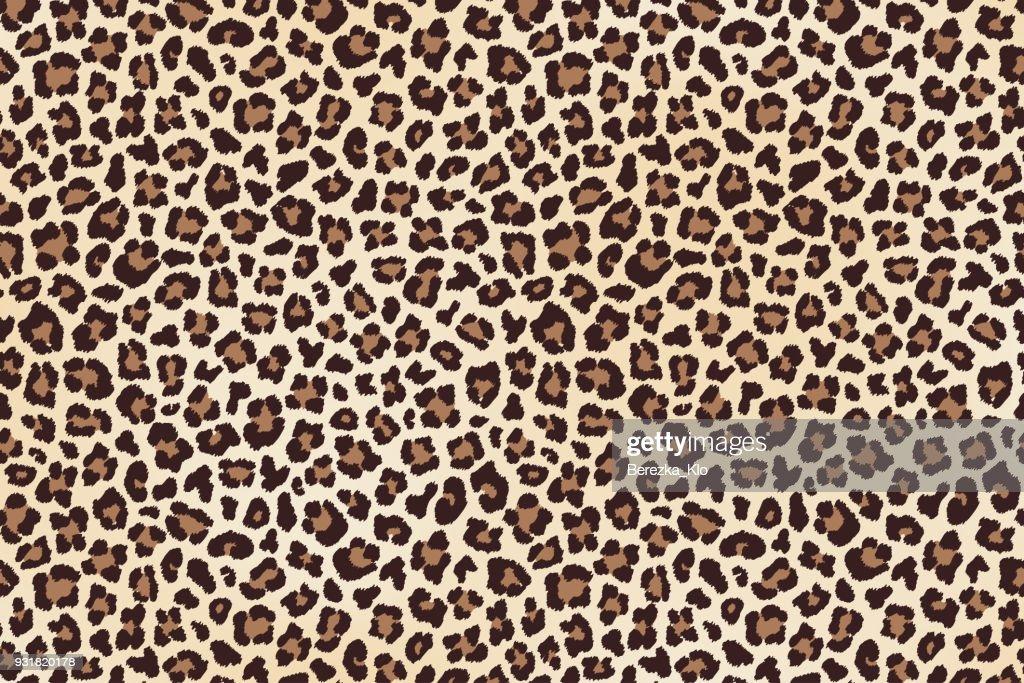 Leopard spots fur, horizontal texture. Vector