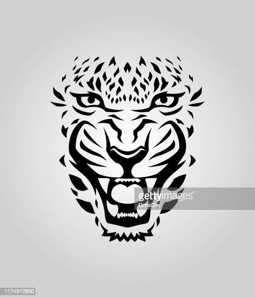 ilustraciones, imágenes clip art, dibujos animados e iconos de stock de silueta cortada de la cara de leopardo, tigre o puma - jaguar