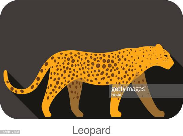 Leopard  walking side flat 3D icon design